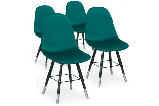 Lot de 4 Chaises Scandinaves Velours Vert NAVAJOS SoFactory