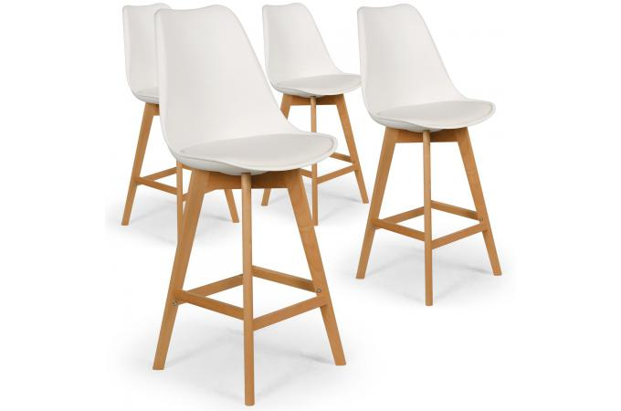 Lot de 4 tabourets de bar blancs ALAVUS