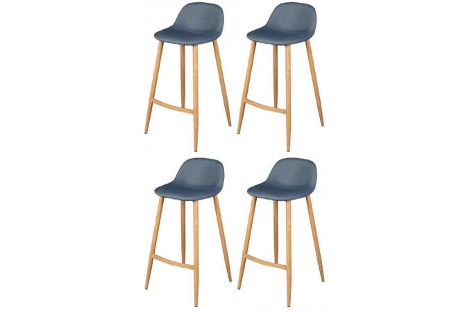 lot de 4 tabourets de bar scandinave bleu otan design sur. Black Bedroom Furniture Sets. Home Design Ideas