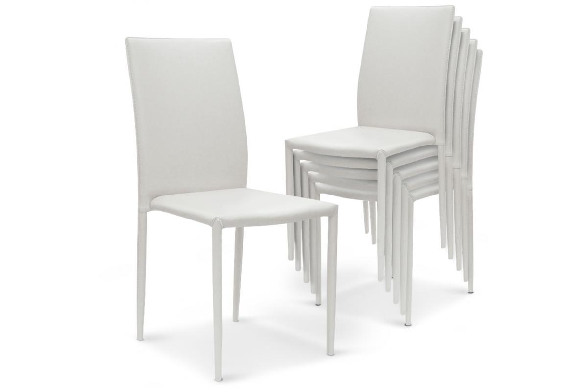 Lot de 6 Chaises Empilables Blanc PRIYA SoFactory