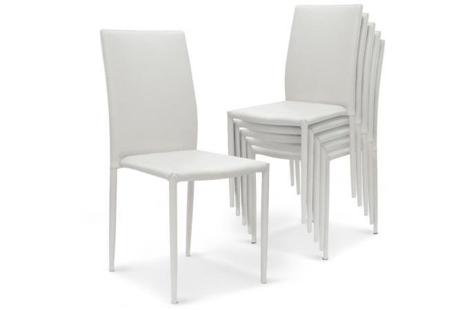 Lot De 6 Chaises Empilables Blanc PRIYA