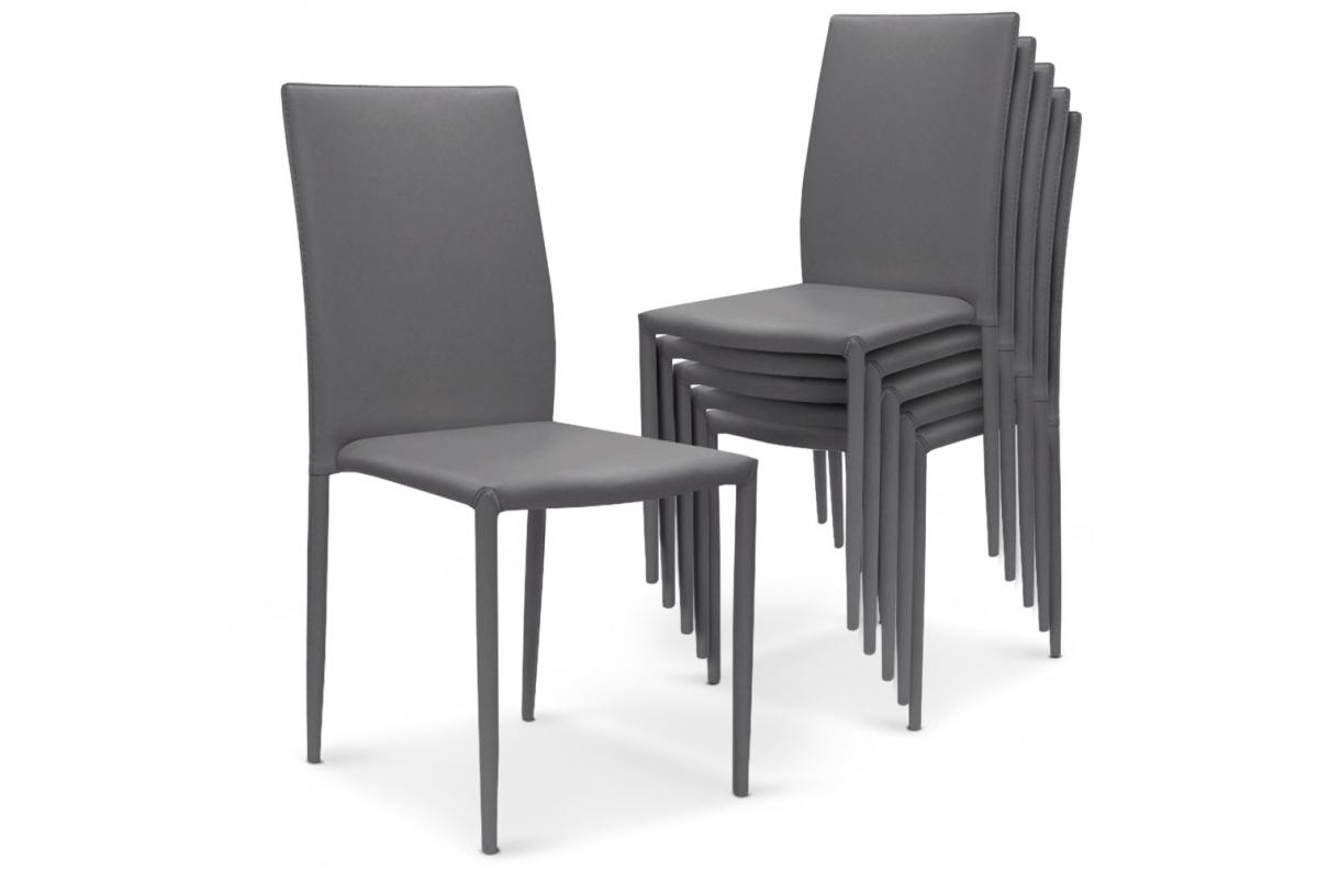 Lot de 6 Chaises Empilables Gris PRIYA SoFactory