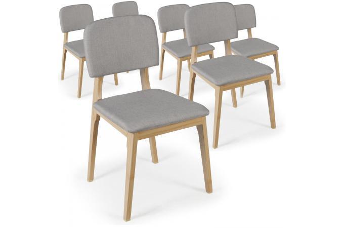 Lot de 6 chaises en tissu grises eno design pas cher sur sofactory - Lot de 6 chaises grises ...