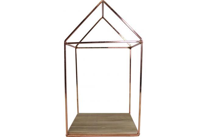 Maison d corative en m tal cuivr et bois l22xh40 kasbah d co design sur sofactory - Maison bois metal ...