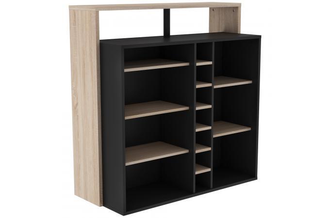 meuble bar 7 niches marron noir logan design sur sofactory. Black Bedroom Furniture Sets. Home Design Ideas