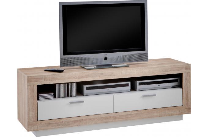 Meuble tv blanc et chene - Meuble tv chene et blanc ...
