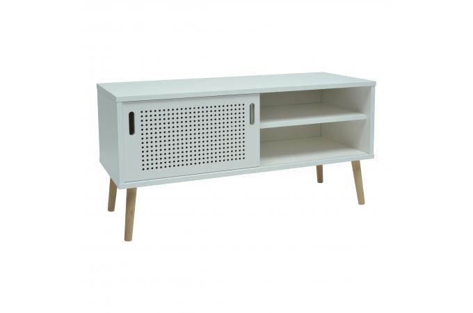 meuble tv 1 porte 2 niche blanc laqu enea