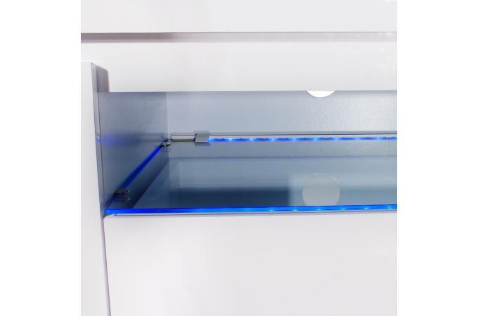 Meuble tv 2 portes 1 tiroir avec led blanc sixieme design for Meuble tv blanc avec led