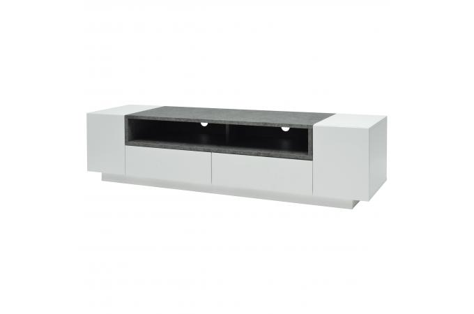 Meuble tv 2 portes 2 tiroirs laqué blanc effet béton babena