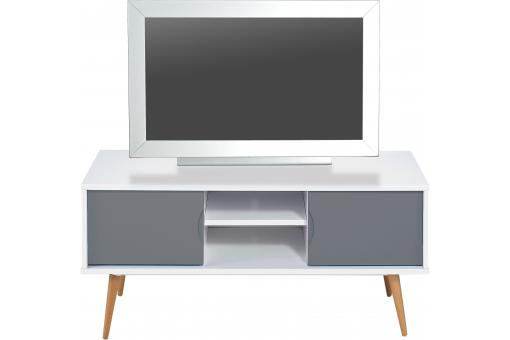Meuble TV 2 Portes Blanc/Gris SPEAKER SoFactory