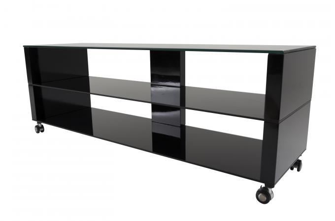 Meuble Tv à Roulettes 147x42cm Verre Noir Mercia Design Sur Sofactory