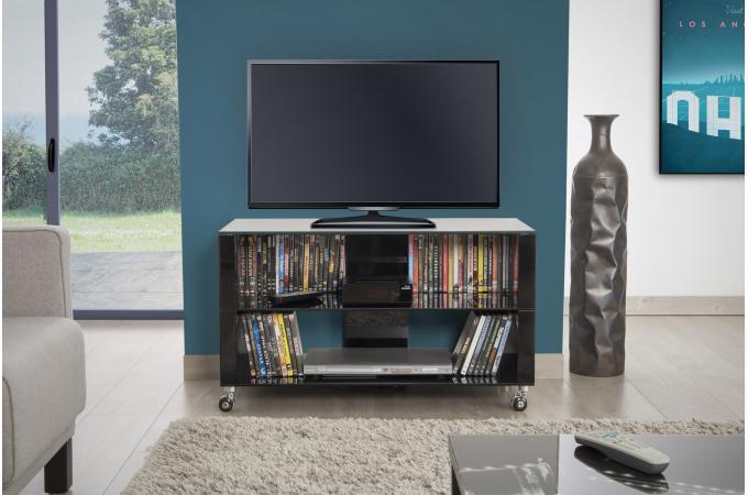 Meuble Tv à Roulettes 90x42cm Verre Noir Mercia Design Sur
