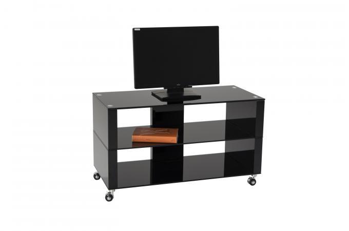 Meuble Tv à Roulettes 90x42cm Verre Noir Mercia Design Sur Sofactory