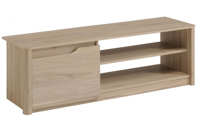 Meuble TV bas en bois avec 1 porte et niches L136cm ...