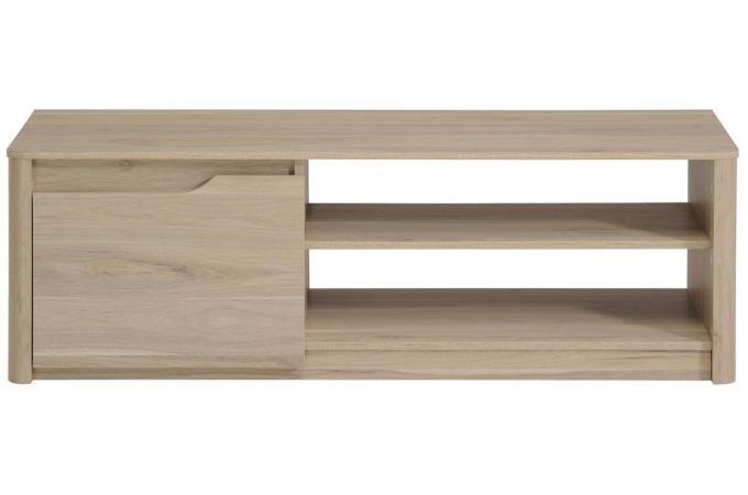 Meuble TV bas en bois avec 1 porte et niches L136cm WILLIAM