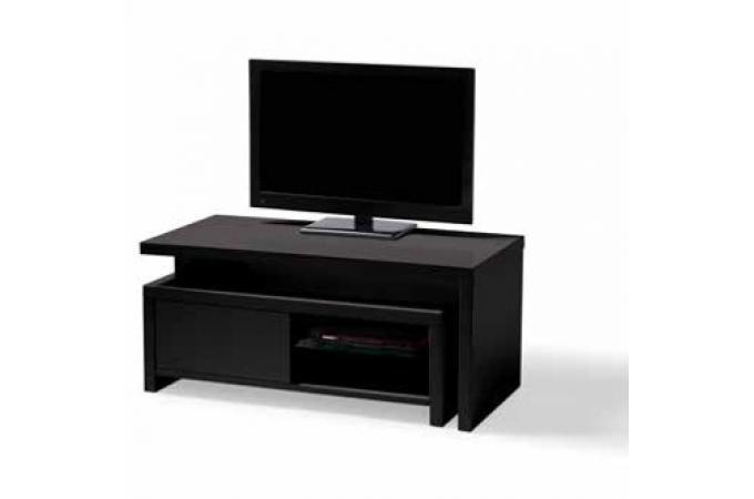 Meuble Tv Blanc Caisson Amovible Noir Tony Design Sur Sofactory
