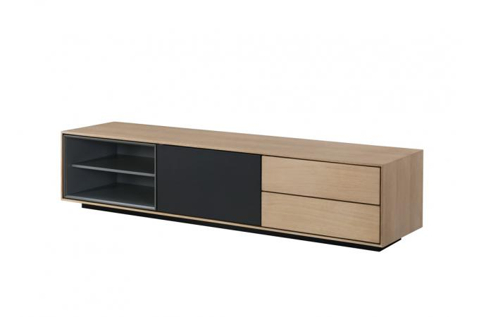 meuble tv bois noir 2 niches 1 porte 2 tiroirs popsy design sur sofactory. Black Bedroom Furniture Sets. Home Design Ideas