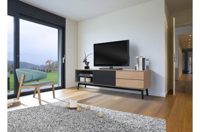 meuble tv bois noir 2 niches 1 porte 2 tiroirs popsy noir de260179 0000