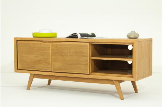 meuble tv 2 portes en teck massif metro design pas cher sur sofactory. Black Bedroom Furniture Sets. Home Design Ideas