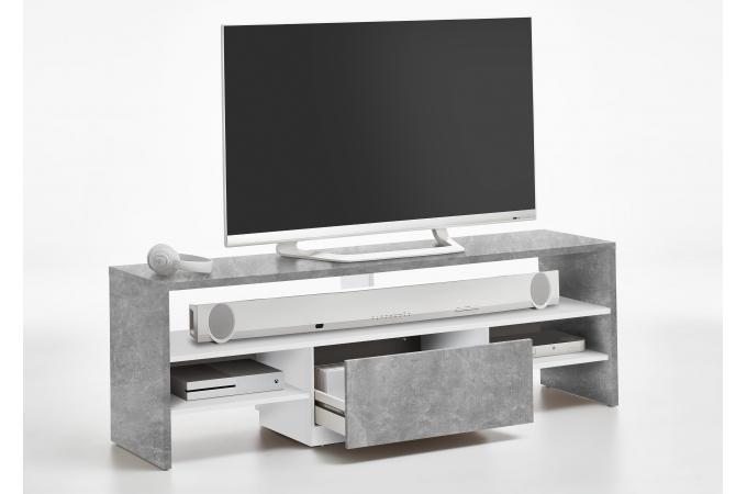 Meuble tv gris béton blanc fancy