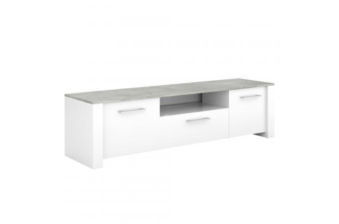 Meuble tv l148 blanc et gris damari design sur sofactory for Meuble tv gris et blanc