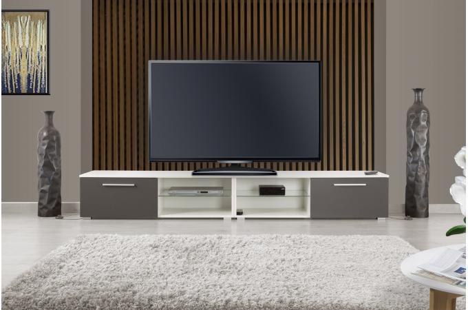 Meuble Tv Led Intégrée Blanc Gris Cabimas Design Sur Sofactory