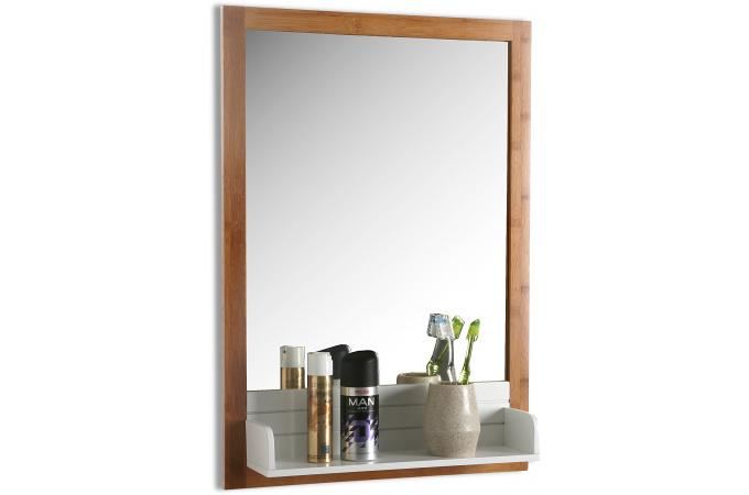 Miroir avec plateau verre et bois 65x45 seen d co design for Verre et miroir