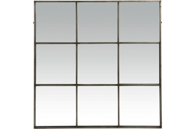 Miroir style industriel 9 parties en m tal linnor d co for Miroir industriel metal