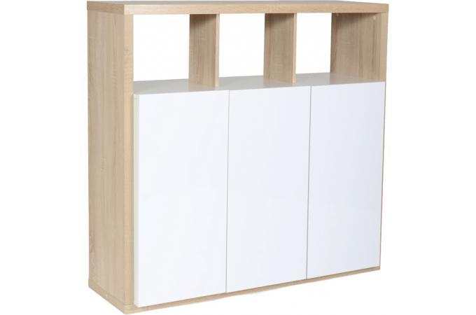 Placard 3 portes en bois blanc et naturel leader design for Porte bois blanc