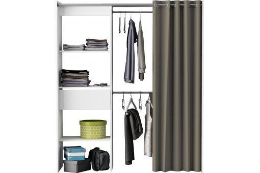 placard extensible avec rideau blanc perle chico design sur sofactory. Black Bedroom Furniture Sets. Home Design Ideas