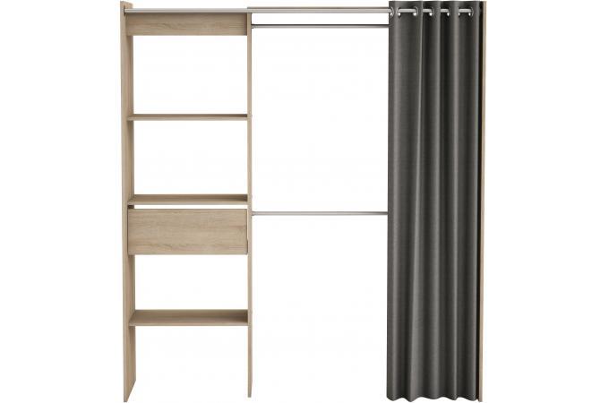 placard extensible avec rideau ch ne bross chico design. Black Bedroom Furniture Sets. Home Design Ideas