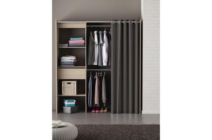 placard extensible avec rideau ch ne bross chico design sur sofactory. Black Bedroom Furniture Sets. Home Design Ideas