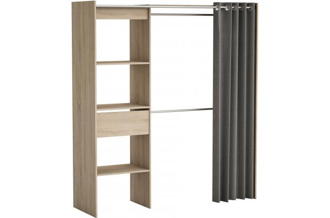 placard extensible avec rideau ch ne bross chico design sur sofactory. Black Bedroom Furniture Sets. Home Design Ideas