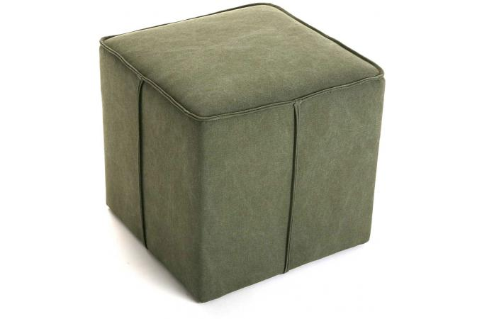 pouf carr impression velours vert 41x41 sambala design sur sofactory. Black Bedroom Furniture Sets. Home Design Ideas