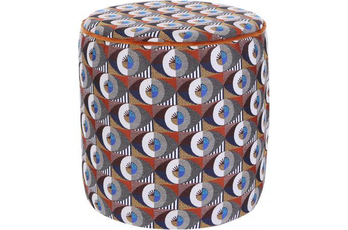 Veltovi Sur Chirico Jacquard Orange Sofactory En Design Pouf OPXwnk80