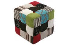 Pouf Cube Patchwork Multicolore CLARENCE Sofactory