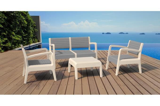 salon de jardin blanc gris moyi design sur sofactory. Black Bedroom Furniture Sets. Home Design Ideas