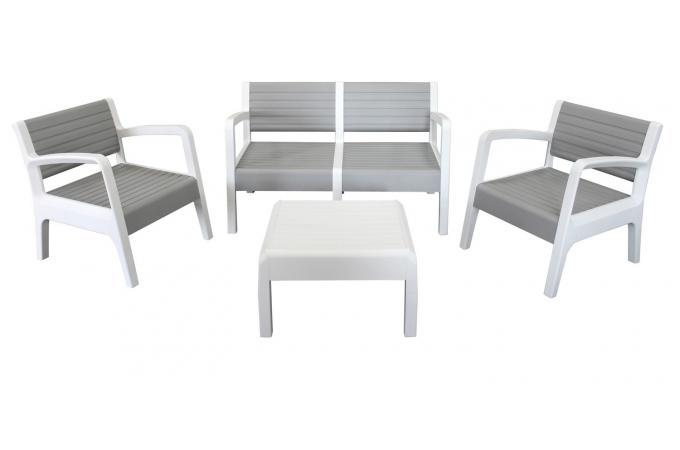 Salon de Jardin Blanc Gris MOYI design sur SoFactory