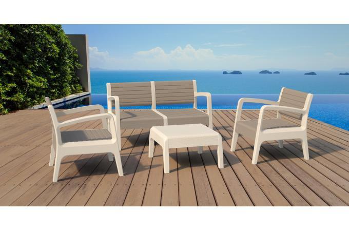 salon de jardin blanc marron moyi design sur sofactory. Black Bedroom Furniture Sets. Home Design Ideas
