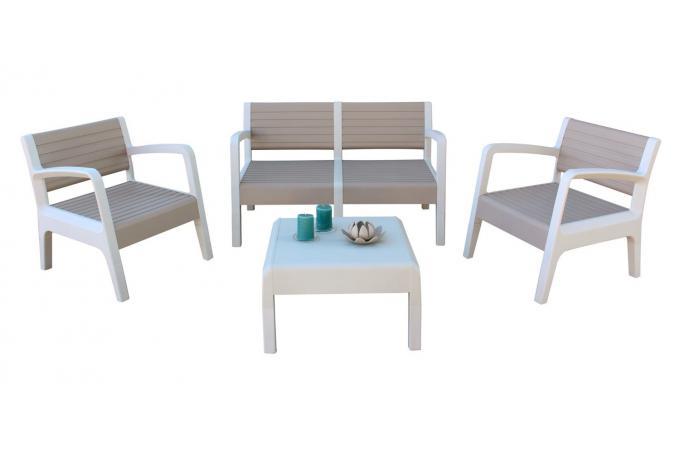 Salon de Jardin Blanc Marron MOYI design sur SoFactory