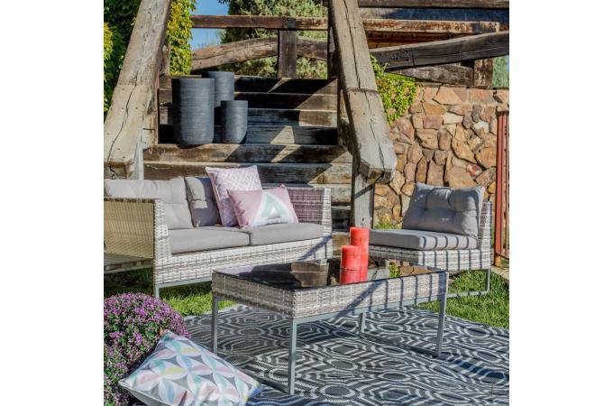 Salon de Jardin Rotin Gris GRAZIELLO design sur SoFactory