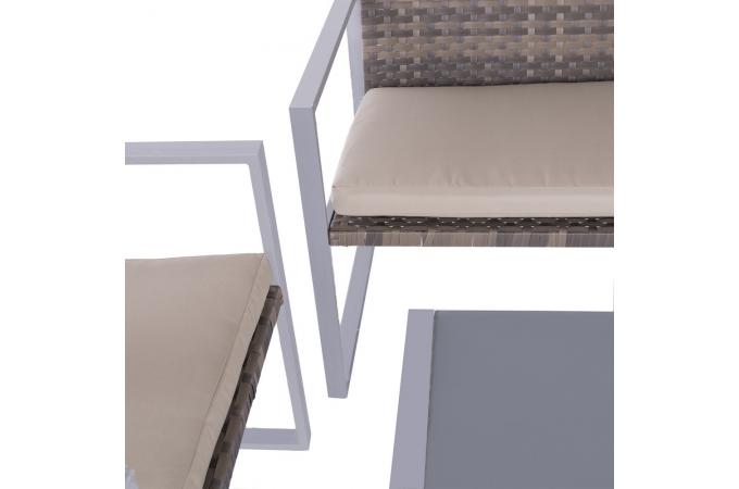 Salon de Jardin Rotin Marron ORNIELLO design sur SoFactory