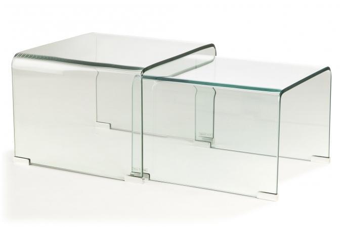 Set 2 Tables Basses Gigogne Verre Transparent Ottawa Design