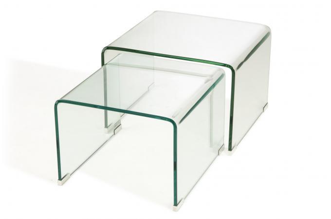 Set 2 Tables Basses Gigogne Verre Transparent Ottawa Design Sur