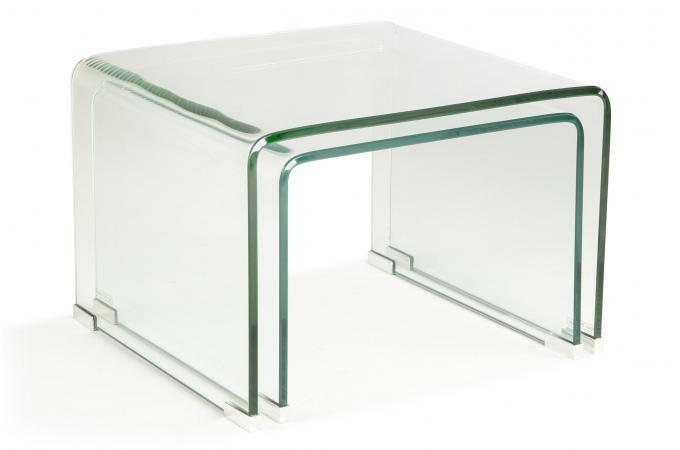 0ecb4e140f2a84 Set 2 Tables Basses Gigogne Verre Transparent OTTAWA design sur ...