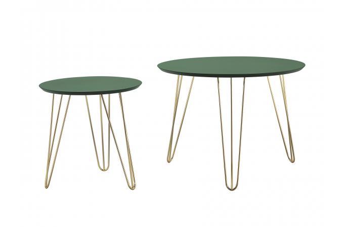 Set De 2 Tables Dappoint Bois Métal Vert Mansourah Design Sur Sofactory