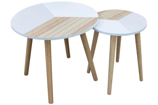 Set de 2 Tables Basses Gigognes Tricolore en Bois EMMY SoFactory