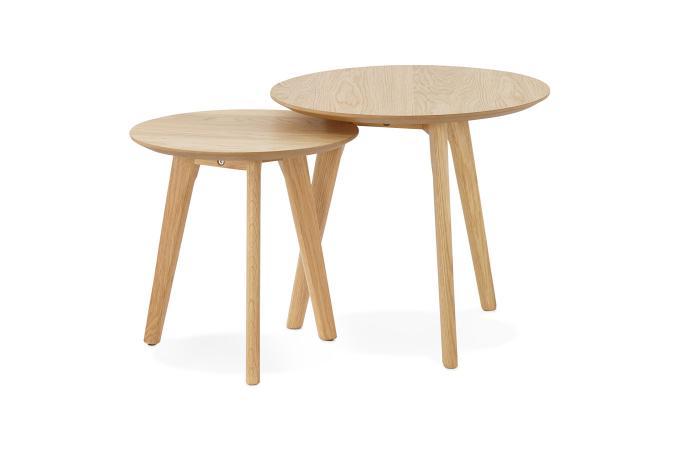 Set De 2 Tables Gigognes Bois Marron Tornesy