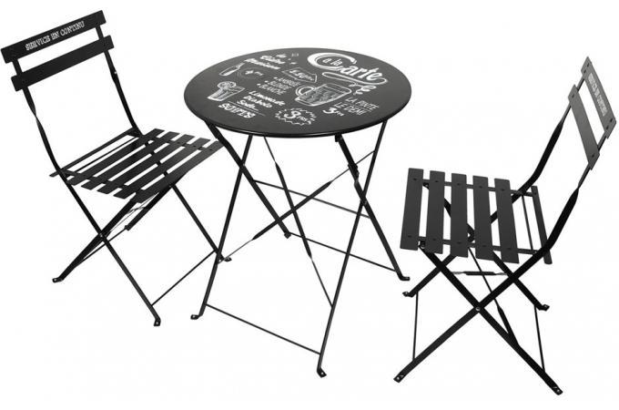 Set de Table et Chaises de Jardin avec Inscriptions en Acier Noir GORDON