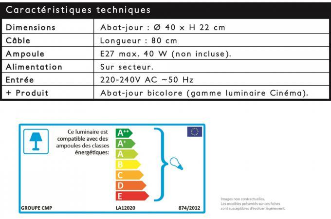 D40cm Cinéma Déco Blanc En Mini Design Noir Suspension Métal Et bymI76Ygvf